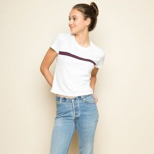 BRANDY MELVILLE Blue & Red Striped Jamie Crop Top One Size